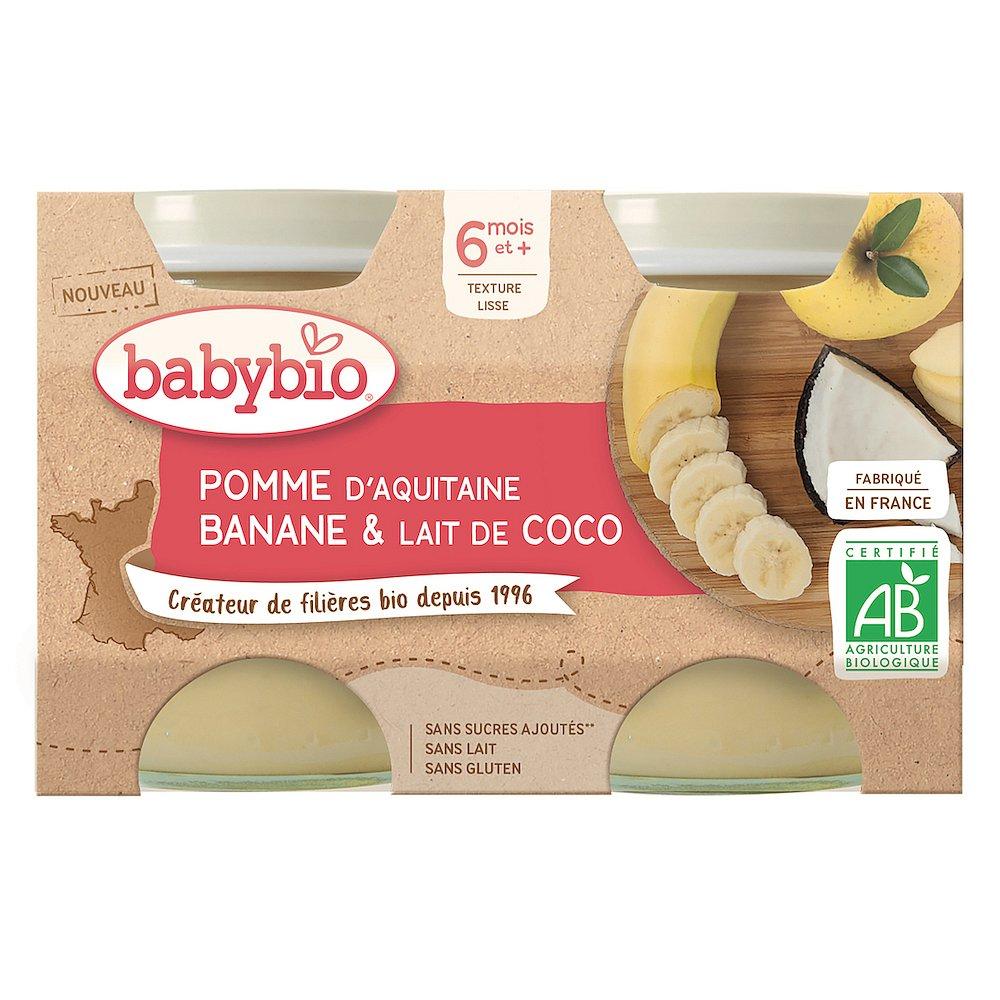 BABYBIO Jablko banán s kokosovým mlékem 2 x 130 g