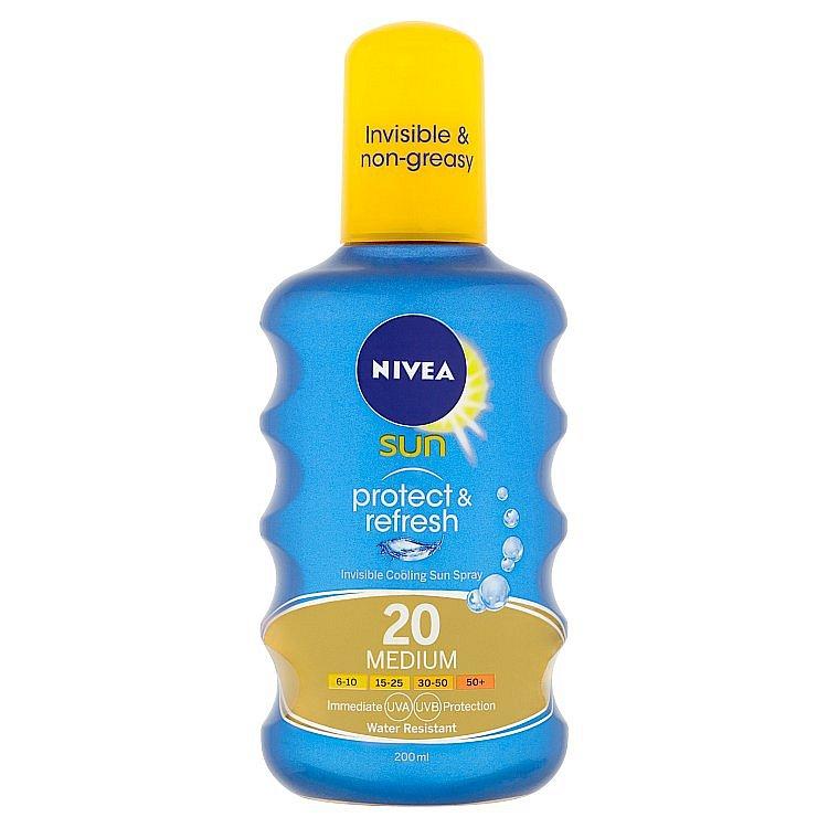 Nivea Sun Protect & Refresh neviditelný sprej na opalování OF 20  200 ml