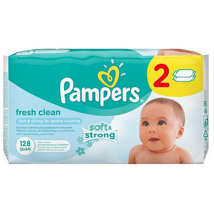 Pampers Fresh Clean vlhčené ubrousky 2x64ks