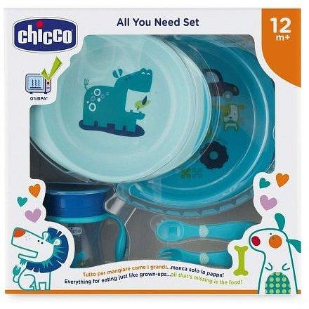 Jídelní set - talíře, příbory, sklenka, 12m+ - modrý