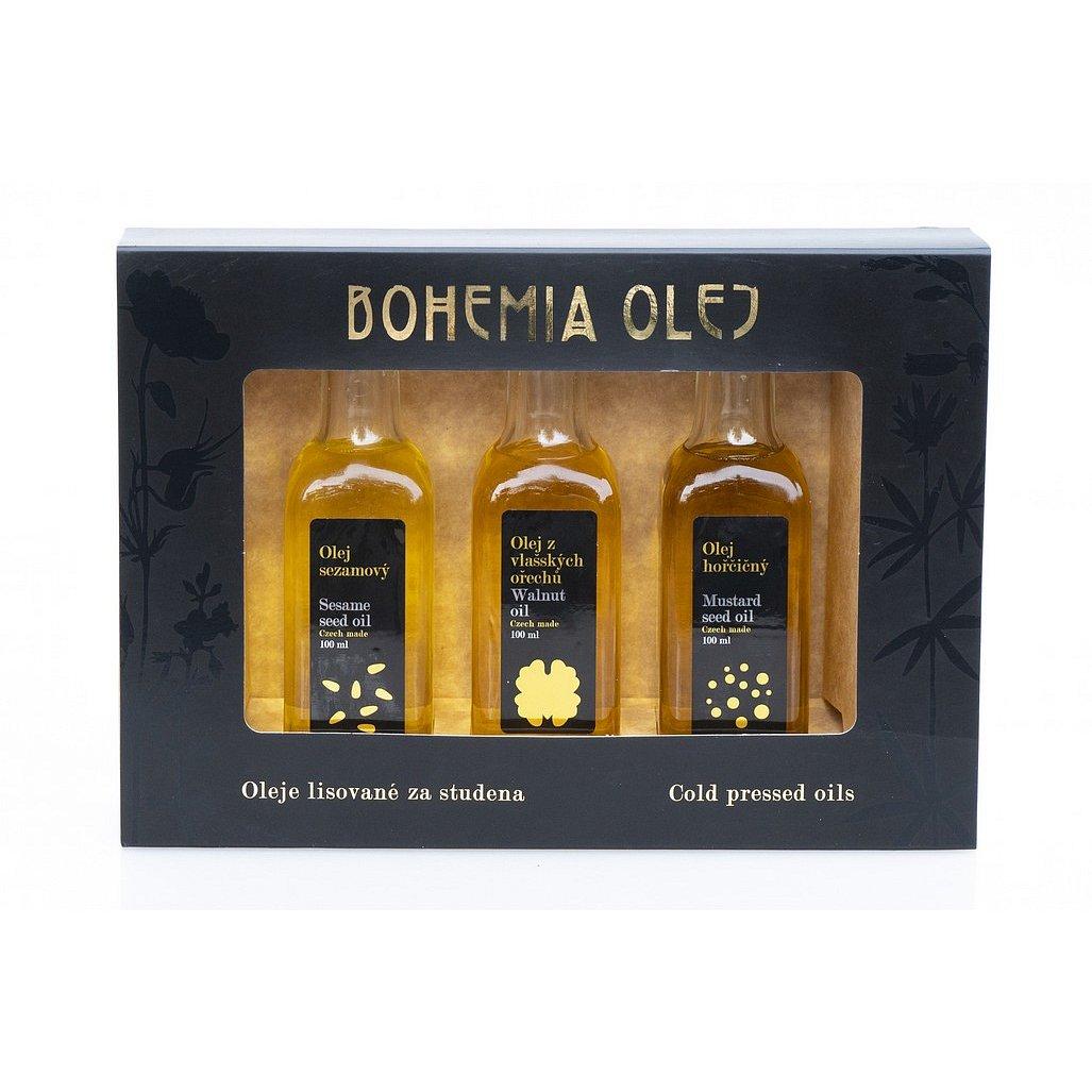 Bohemia olej Dárkový set LZS olejů - sezam, vlašský ořech, hořčice 3x100ml