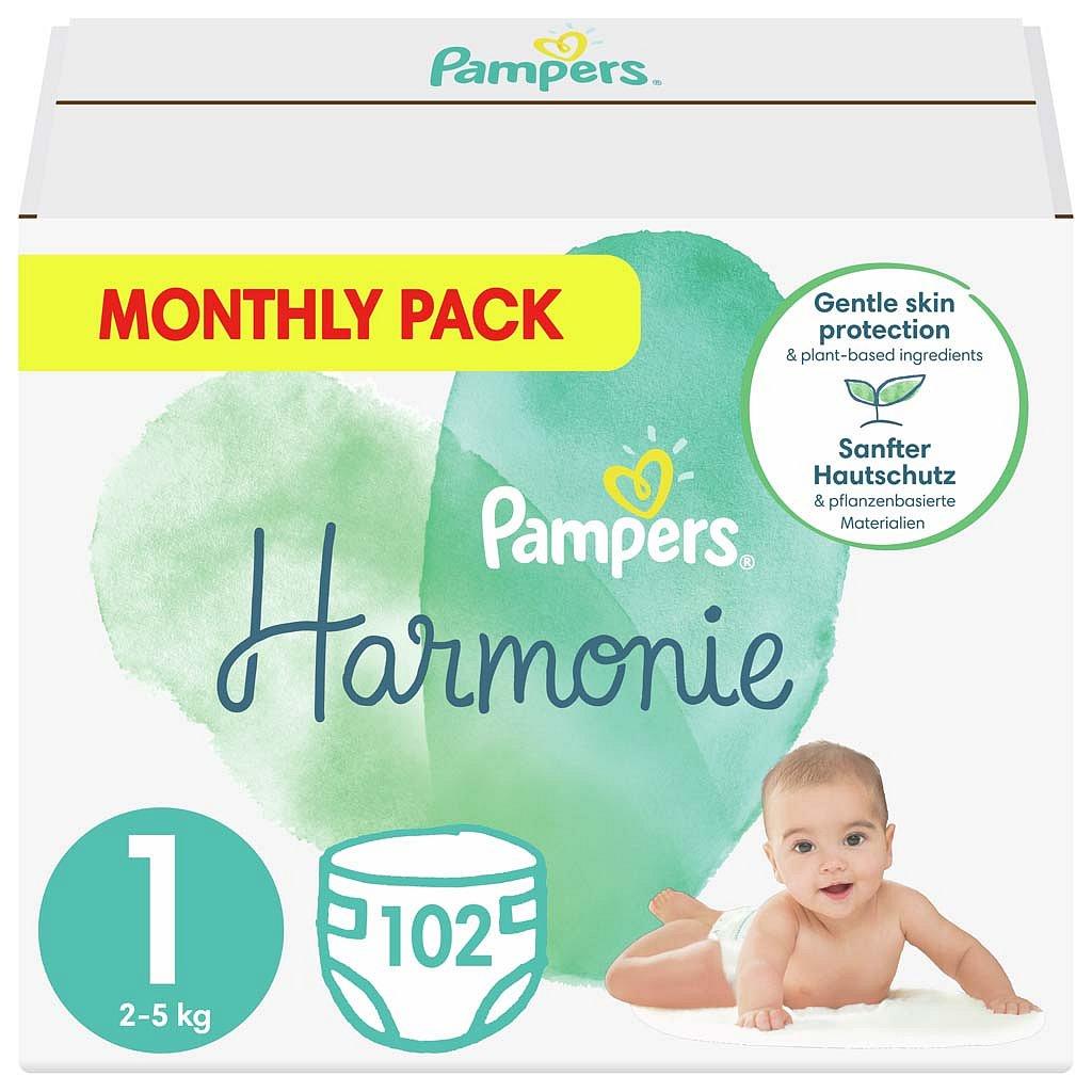 PAMPERS Harmonie Velikost 1, 102 ks, 2-5 kg