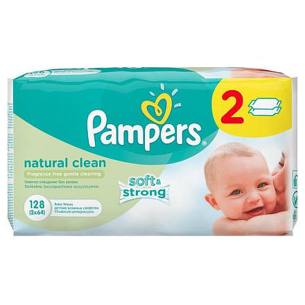 Pampers Natural Clean ubrousky 2x64 ks