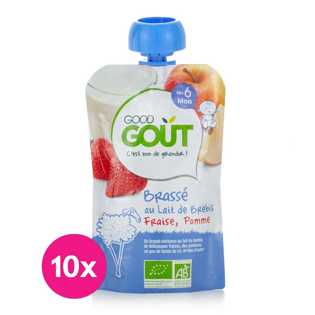 10x GOOD GOUT BIO Ovčí jogurt s jablkem a jahodou 90 g
