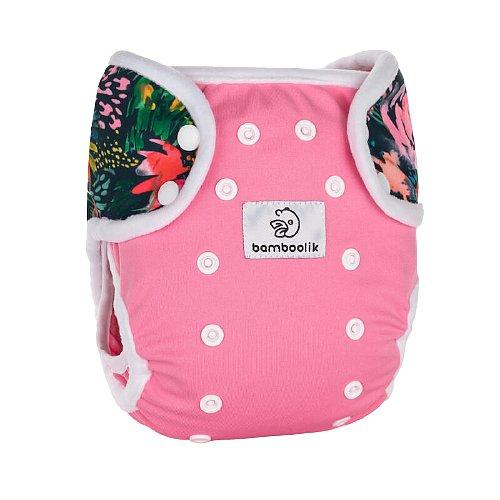 Bamboolik Svrchní kalhotky Duo Patentky - Růžová + Květy