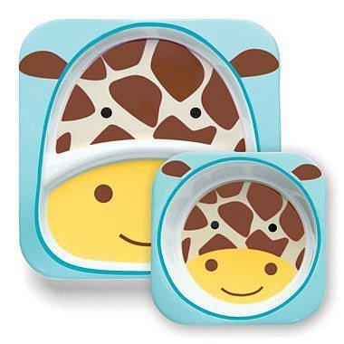 SKIP HOP Zoo Jídelní set/miska,talířek Žirafa