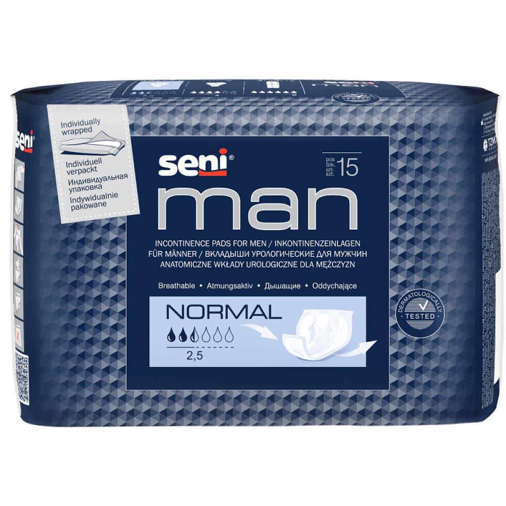 SENI Man normal inkontinenční vložky pro muže 2,5 kapky 15 kusů, poškozený obal