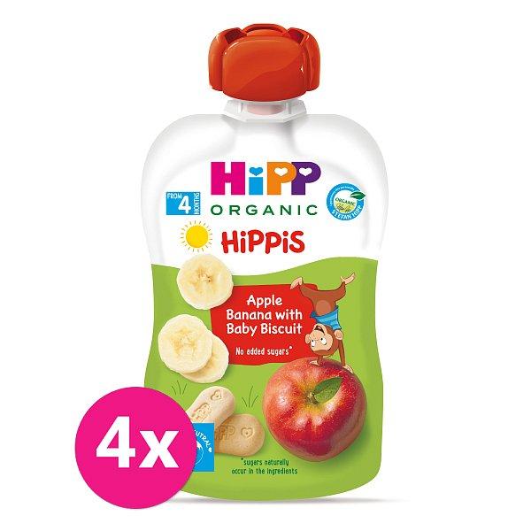 4x HiPP BIO Jablko-Banán-Baby sušenky od uk. 4.-6. měsíce