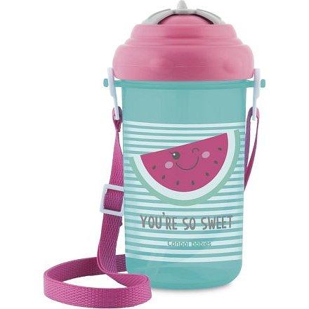 Canpol babies Cestovní sportovní láhev se slámkou a víčkem Meloun 400 ml