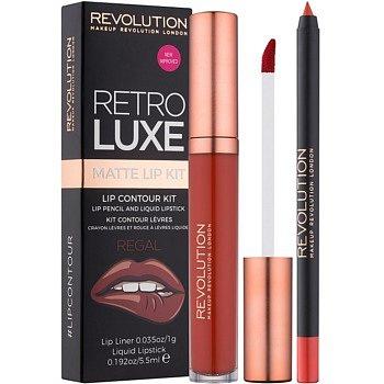 Makeup Revolution Retro Luxe matná sada na rty odstín Regal 5,5 ml