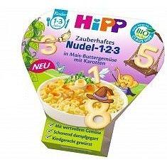 HiPP BIO Těstoviny 123 s kukuřicí, zeleninou a mrkví, 250g