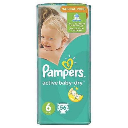 Pampers Active Baby-dry vel.6 Extra Large, dětské pleny 56ks