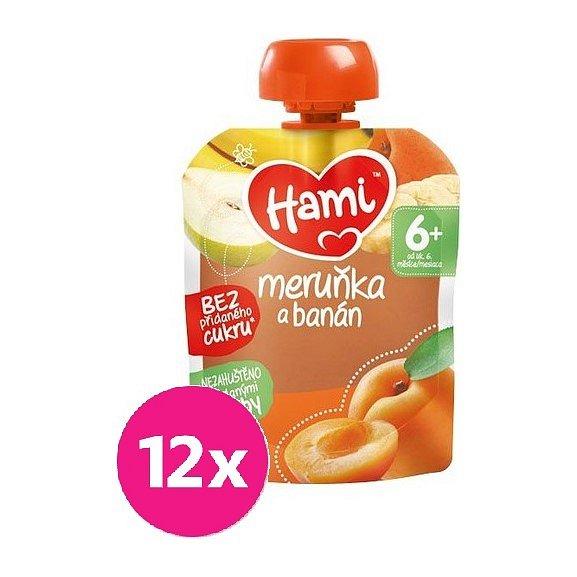 12x HAMI XXL ovocná kapsička Meruňka a banán 90 g, 6+