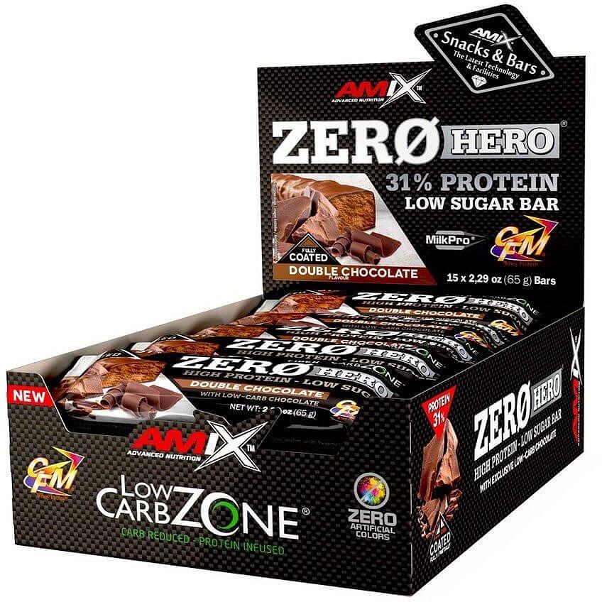 Amix Zero Hero 31% Protein Bar, Double Chocolate, 15x65g