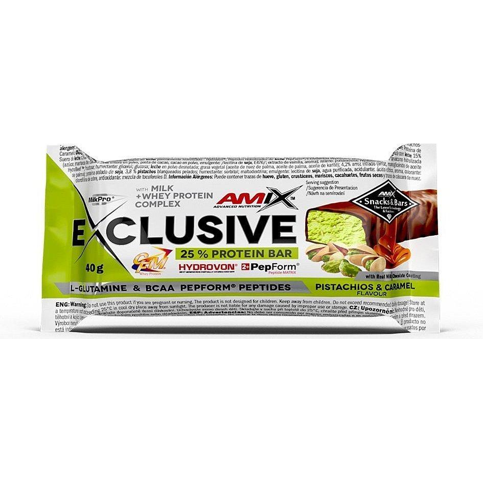 AMIX Exclusive Protein Bar, Pistácie-karamel, 40g