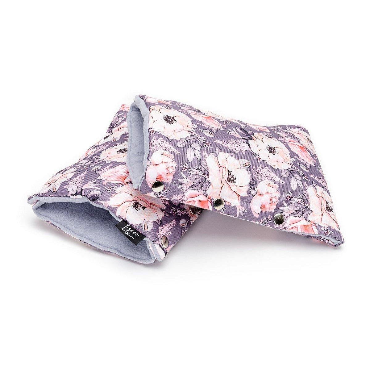 ESECO Rukavice na kočárek Grey flowers 2 ks