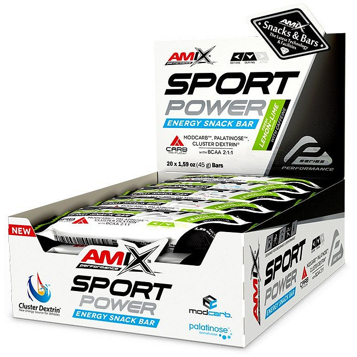 Amix Sport Power Energy Snack Bar s kofeinem, Citrón-limetka, 20x45g