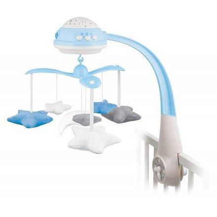 Canpol babies Kolotoč plyšový s projektorem Hvězdičky modrý