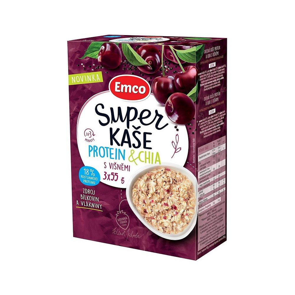 EMCO Super kaše Protein & chia s višněmi 3x55 g