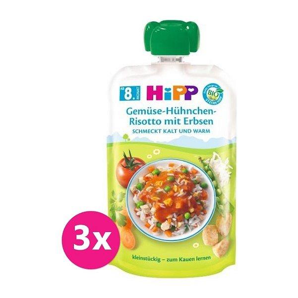 3 x HiPP BIO Zeleninové rizoto, kuřecí maso, hrášek od uk. 7. měsíce, 130 g