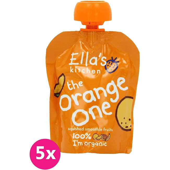 5x ELLA'S Kitchen, Ovocné pyré - Orange One (Mango) 90 g - Ella's Kitchen Ovocné pyré Orange One Mango PACK 5ks