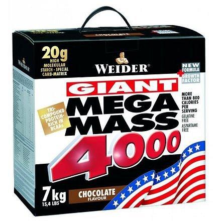 Weider, Giant Mega Mass 4000, Gainer, 7000 g, Vanilka