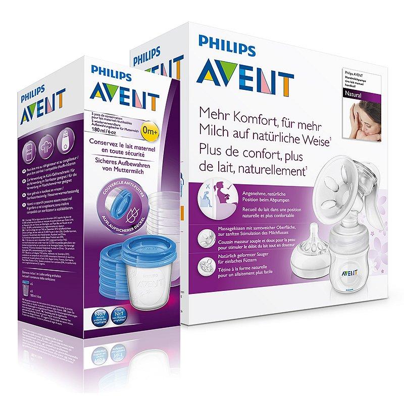 Avent Odsávačka mateřského mléka Natural se zásobníkem 125 ml + VIA pohárky 180 ml 5 ks
