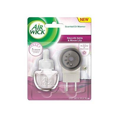 Air Wick elektrický osvěžovač vzduchu Jemný satén a měsíční lilie  19 ml