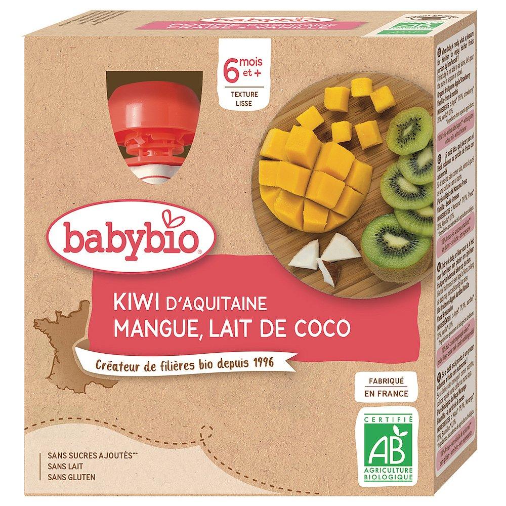 BABYBIO Kiwi, mango a kokos 4 x 90 g