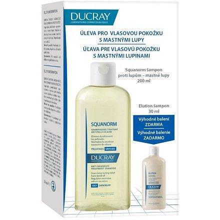 Ducray Squanorm Šampon proti mastným lupům 200ml + Elution šampon na léčbu lupů 30ml zdarma