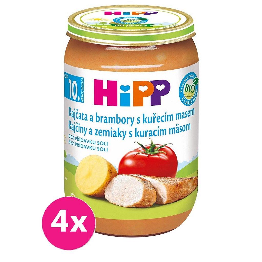 4x HiPP Bio Rajčata a brambory s kuřecím masem od 10. měsíce, 220 g