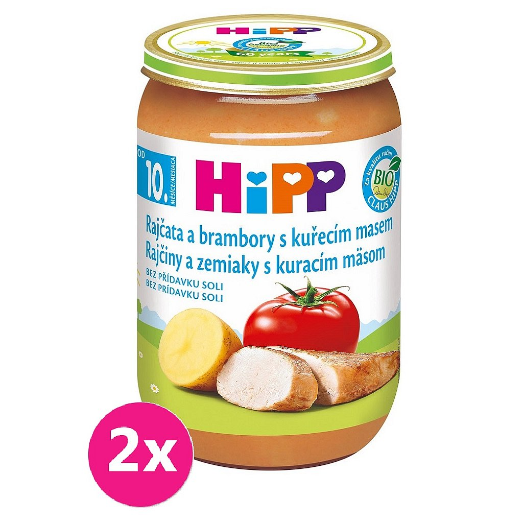 2x HiPP Bio Rajčata a brambory s kuřecím masem od 10. měsíce, 220 g