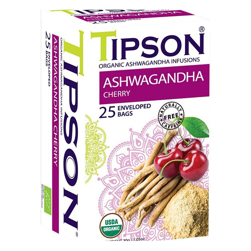 TIPSON Ashwagandha Cherry  bylinný čaj BIO 25 sáčků