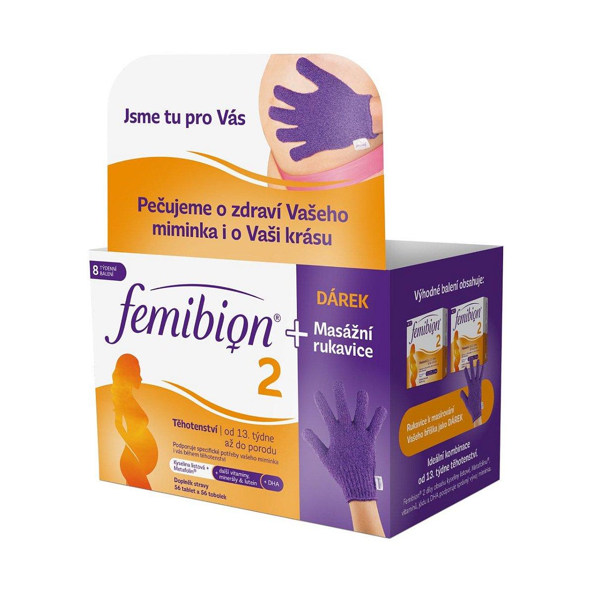 Femibion 2 Těhotenství 56 tablet + 56 tobolek + masážní rukavice