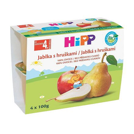 HIPP 100% OVOCE BIO Jablka s hrušk..4x100g