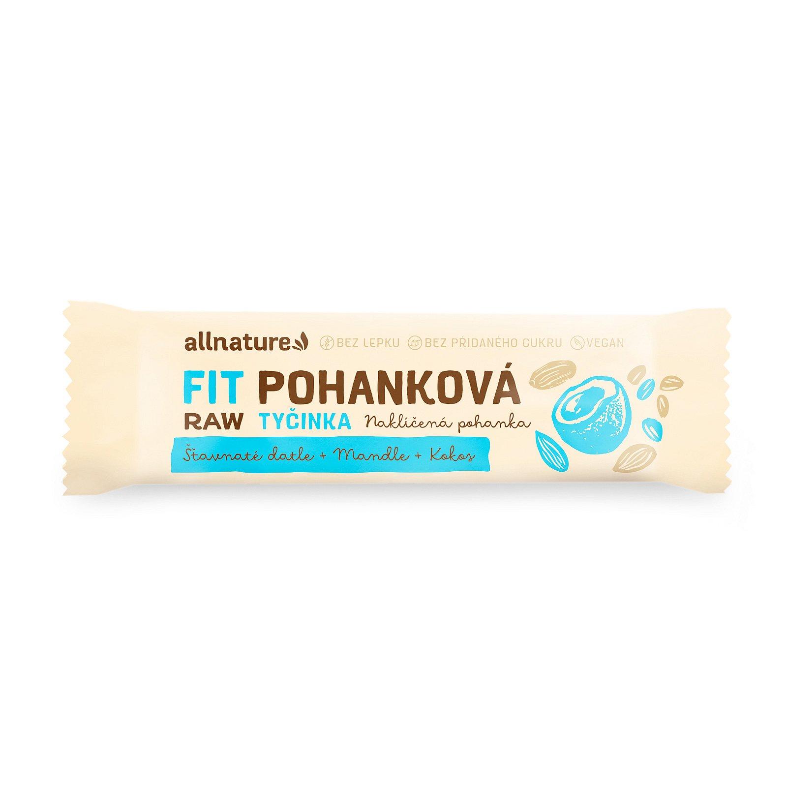 Allnature Bezlepková pohanková FIT tyčinka kokos, datle, mandle 45 g