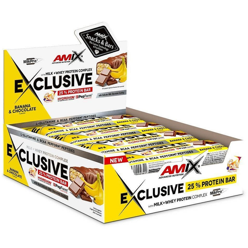 AMIX Exclusive Protein Bar, Banán-čokoláda, 12x85g
