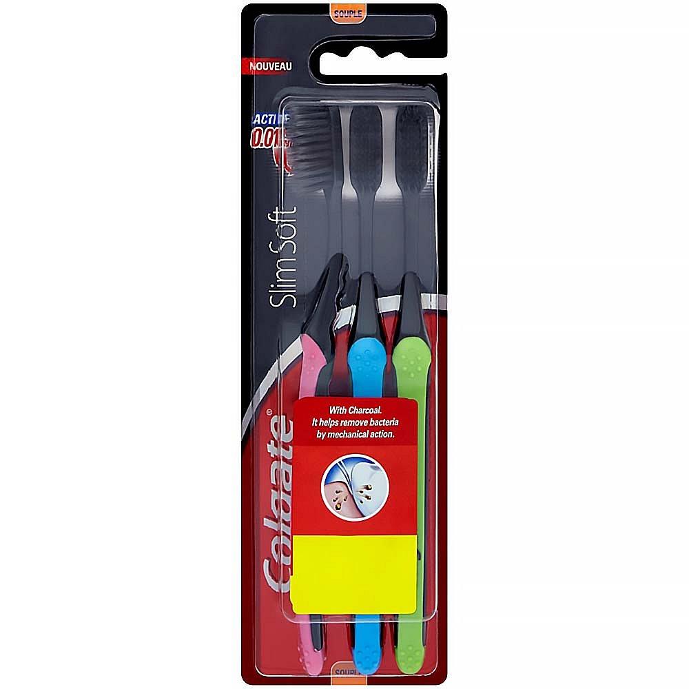 COLGATE Slim Soft Charcoal měkký zubní kartáček 3 ks