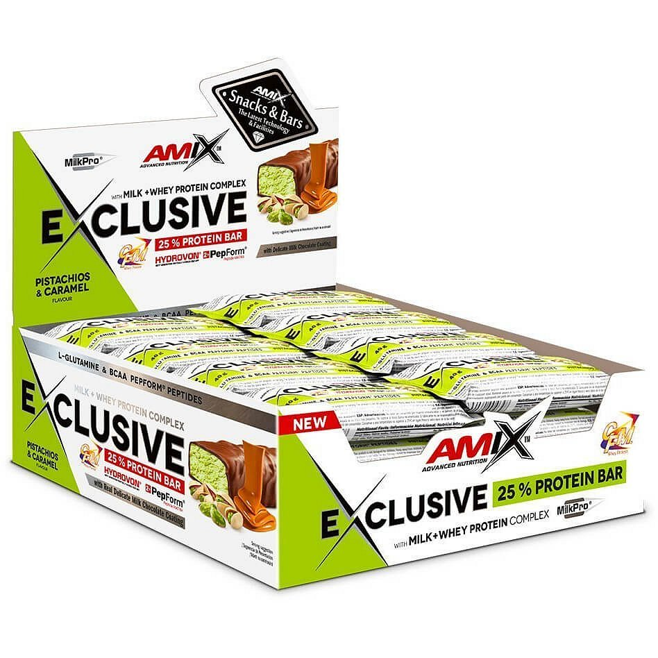 AMIX Exclusive Protein Bar, Pistácie-karamel, 24x40g