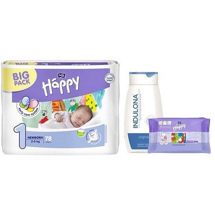 Happy Newborn dětské pleny 78ks + Indulona 250ml a ubrousky 24ks