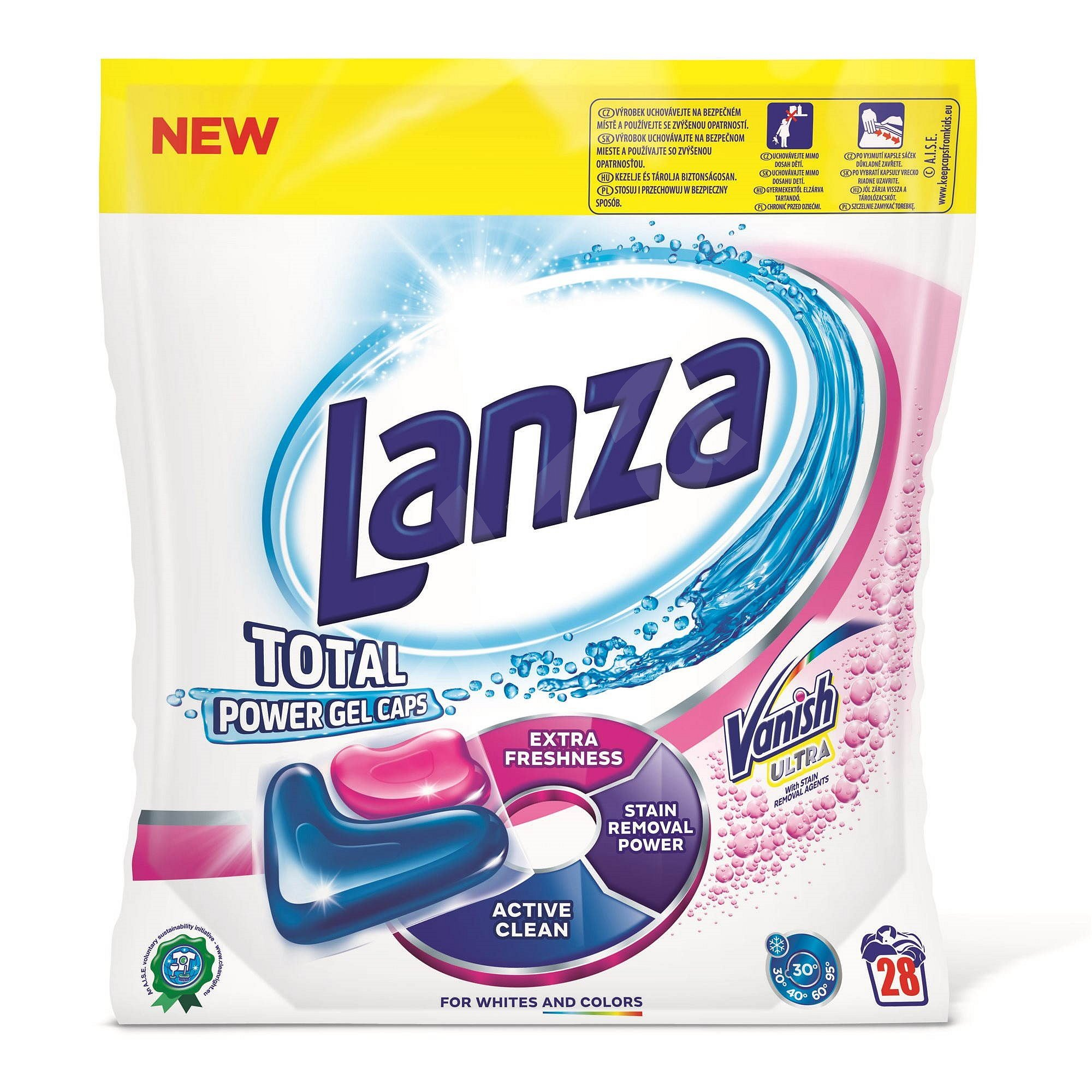 LANZA Total Power na barevné prádlo 28 ks – gelové kapsle na praní