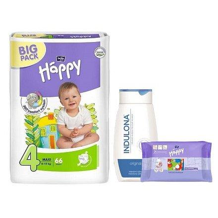Happy Maxi dětské pleny 66ks + Indulona 250ml a ubrousky 24ks