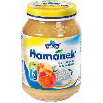 Hamánek kojenecká výživa s broskvemi a tvarohem 190g