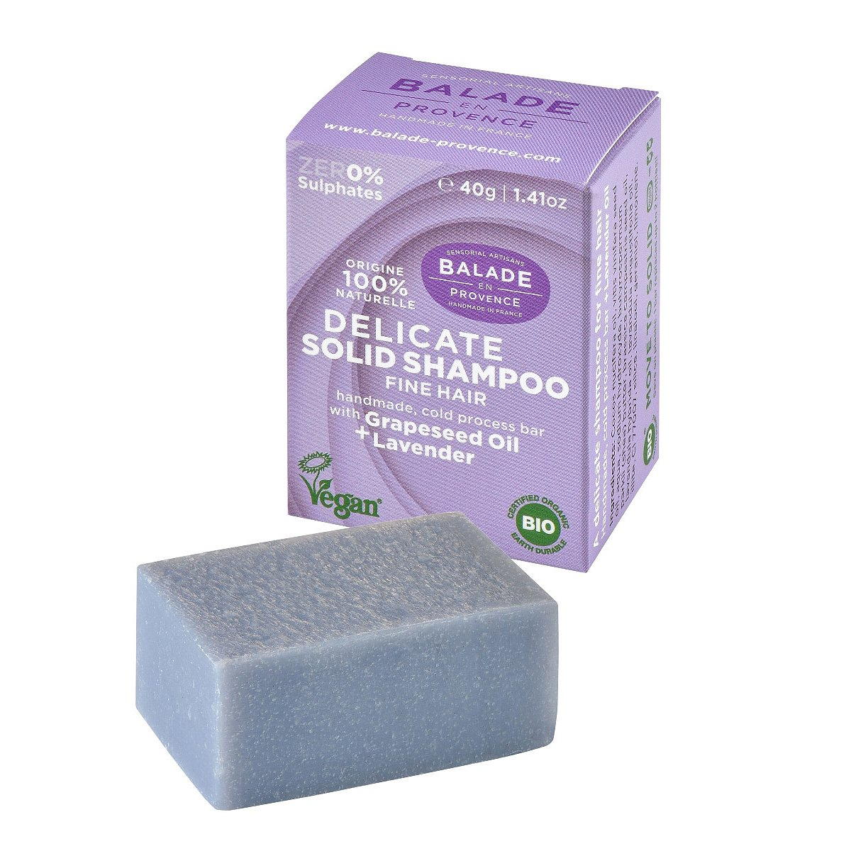Balade en Provence Posilující tuhý šampon pro jemné vlasy BIO Levandule 40 g