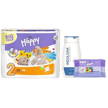 Happy Mini dětské pleny 78ks + Indulona 250ml a ubrousky 24ks