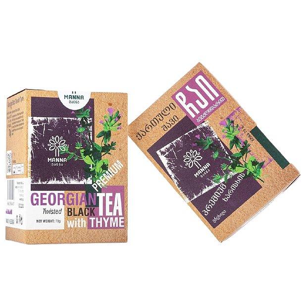 Manna Premium gruzínský Černý čaj s tymiánem sypaný 70g