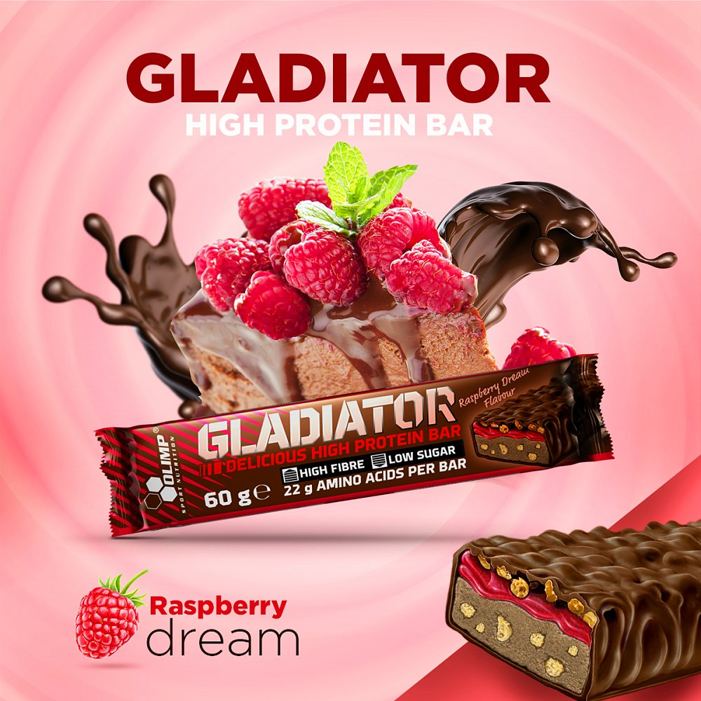 OLIMP Gladiator delicious high protein bar Proteinová tyčinka Malina 60 g