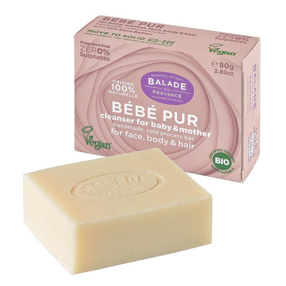 Balade en Provence Jemné tuhé mýdlo pro maminky a děti BIO bez parfemace 80 g