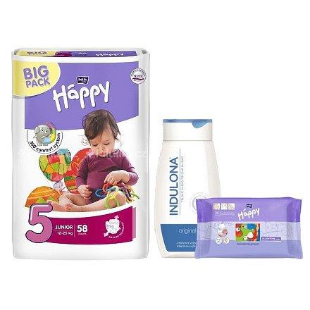 Happy Junior dětské pleny 58ks + Indulona 250ml a ubrousky 24ks