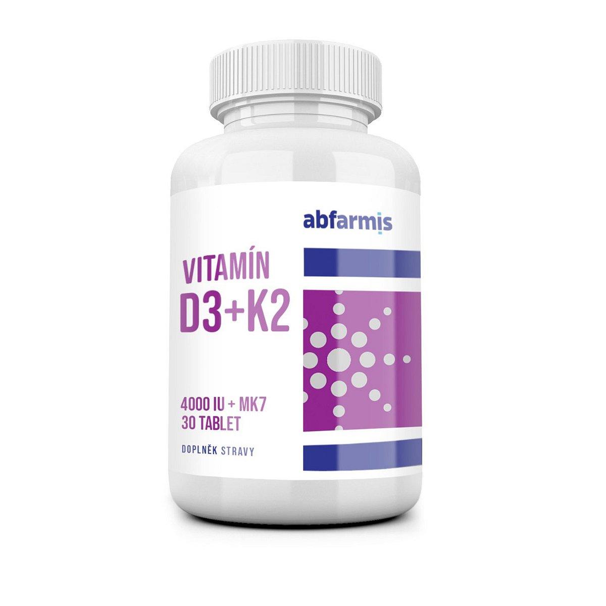 Abfarmis Vitamín D3 + K2 4000 IU + MK7 30 tablet